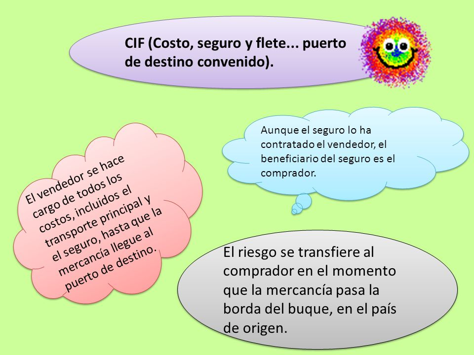CIF (Costo, seguro y flete... puerto de destino convenido).