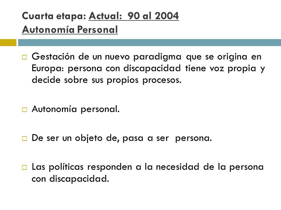 Cuarta etapa: Actual: 90 al 2004 Autonomía Personal