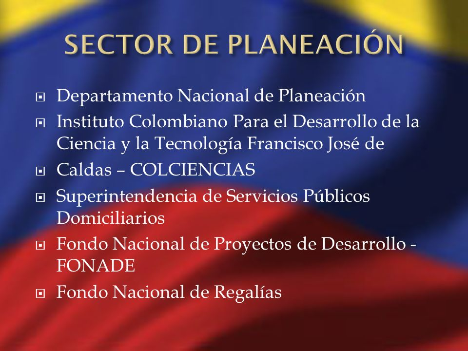 SECTOR DE PLANEACIÓN Departamento Nacional de Planeación