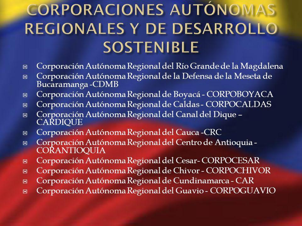 CORPORACIONES AUTÓNOMAS REGIONALES Y DE DESARROLLO SOSTENIBLE