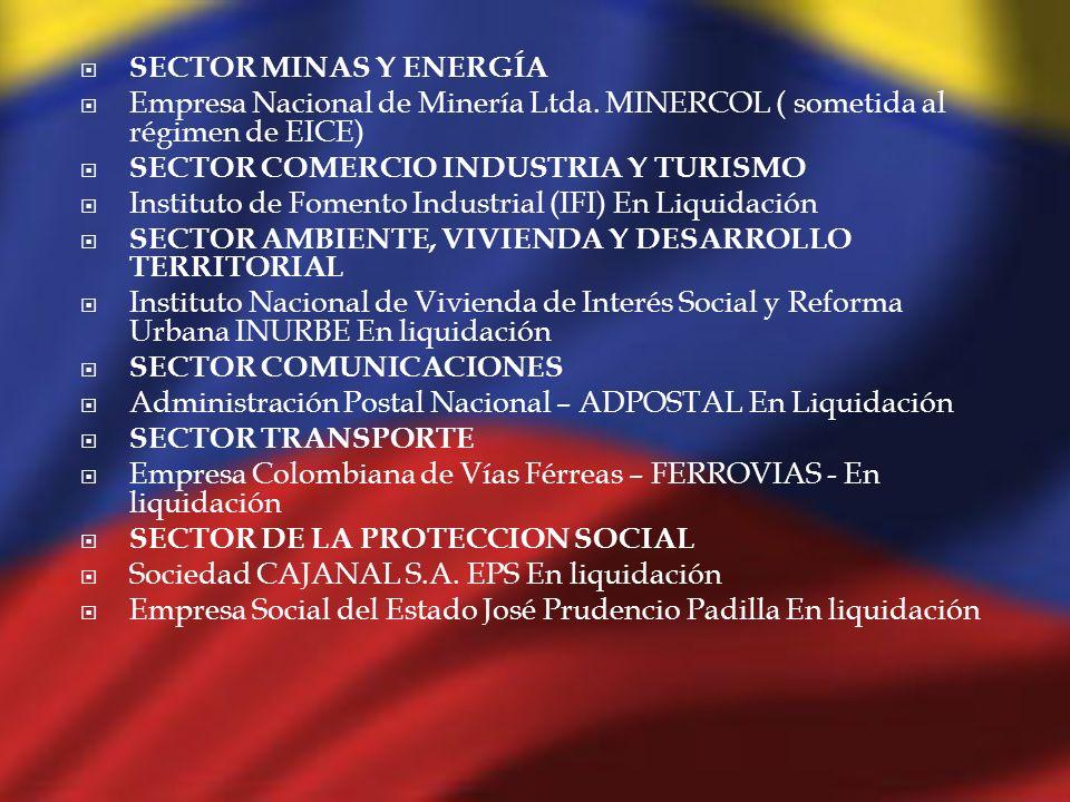 SECTOR MINAS Y ENERGÍA Empresa Nacional de Minería Ltda. MINERCOL ( sometida al régimen de EICE) SECTOR COMERCIO INDUSTRIA Y TURISMO.