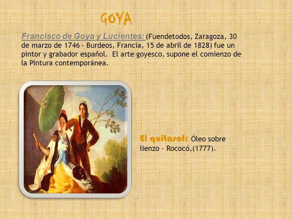 GOYA El quitasol: Óleo sobre lienzo - Rococó,(1777).