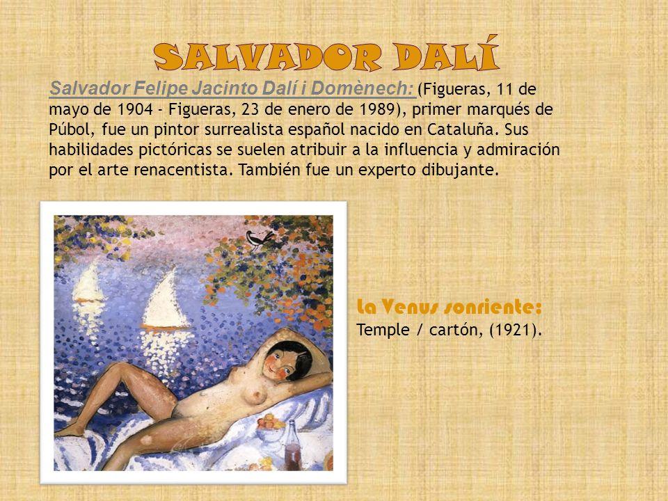 salvador dalí La Venus sonriente: Temple / cartón, (1921).