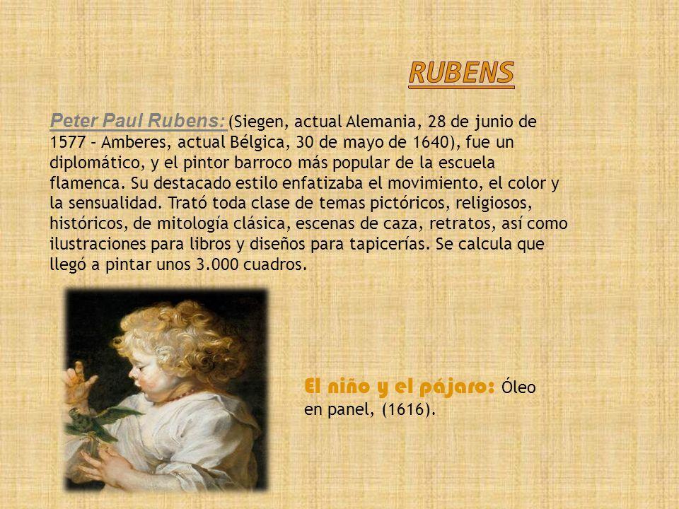 Rubens El niño y el pájaro: Óleo en panel, (1616).