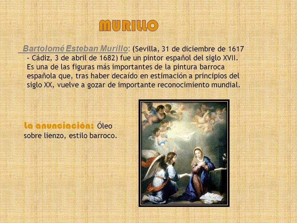 Murillo La anunciación: Óleo sobre lienzo, estilo barroco.