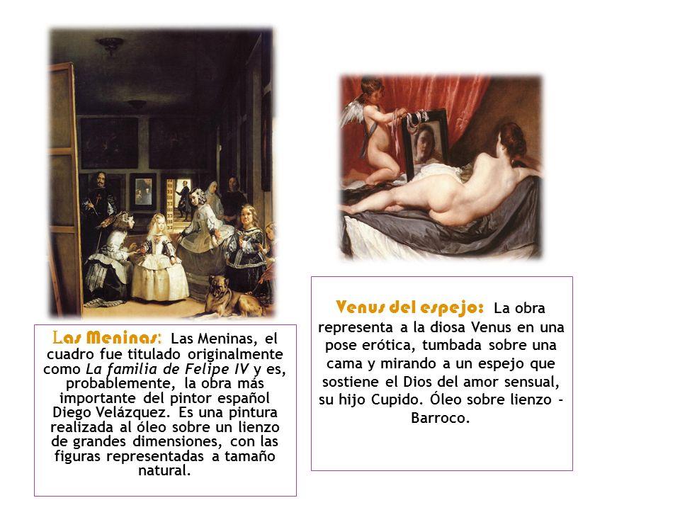 Venus del espejo: La obra representa a la diosa Venus en una pose erótica, tumbada sobre una cama y mirando a un espejo que sostiene el Dios del amor sensual, su hijo Cupido. Óleo sobre lienzo - Barroco.