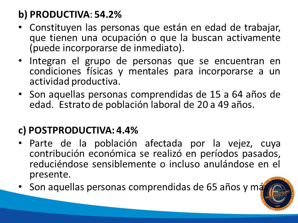 b) PRODUCTIVA: 54.2%