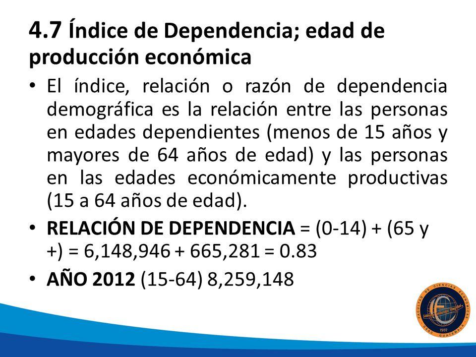 4.7 Índice de Dependencia; edad de producción económica
