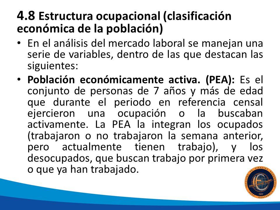 4.8 Estructura ocupacional (clasificación económica de la población)