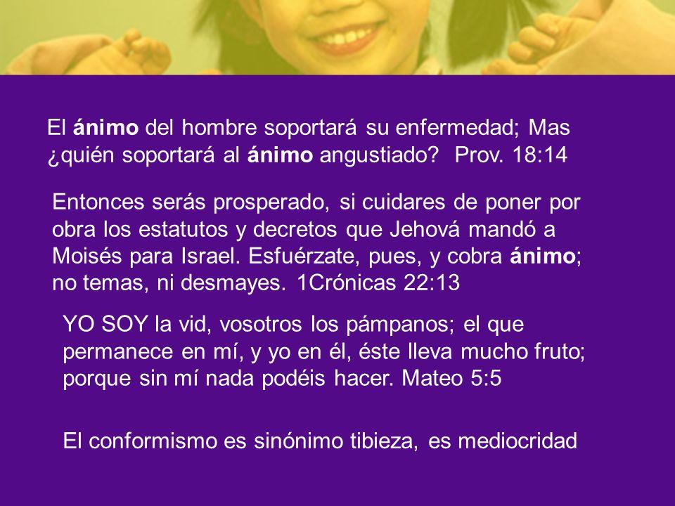 El ánimo del hombre soportará su enfermedad; Mas ¿quién soportará al ánimo angustiado Prov. 18:14