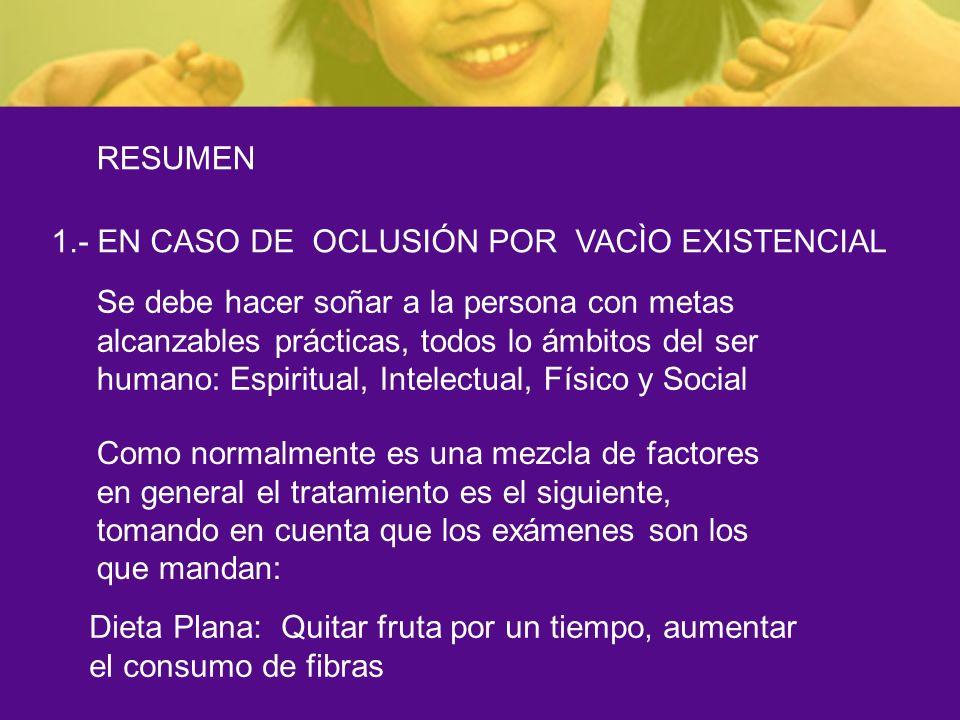 RESUMEN 1.- EN CASO DE OCLUSIÓN POR VACÌO EXISTENCIAL.