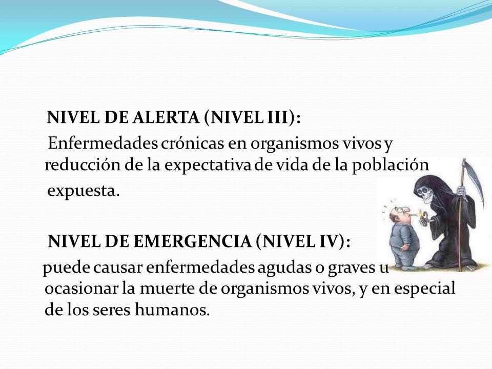 NIVEL DE ALERTA (NIVEL III): Enfermedades crónicas en organismos vivos y reducción de la expectativa de vida de la población expuesta.