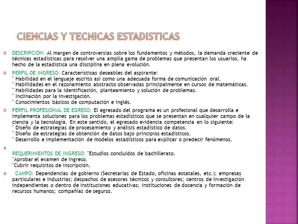 CIENCIAS Y TECNICAS ESTADISTICAS