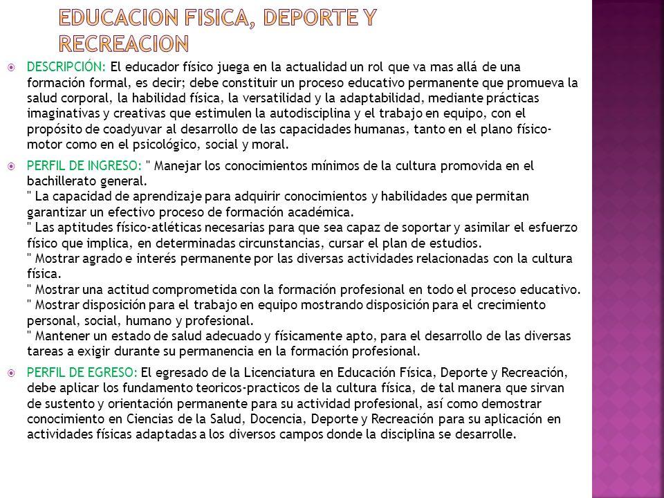 EDUCACION FISICA, DEPORTE Y RECREACION