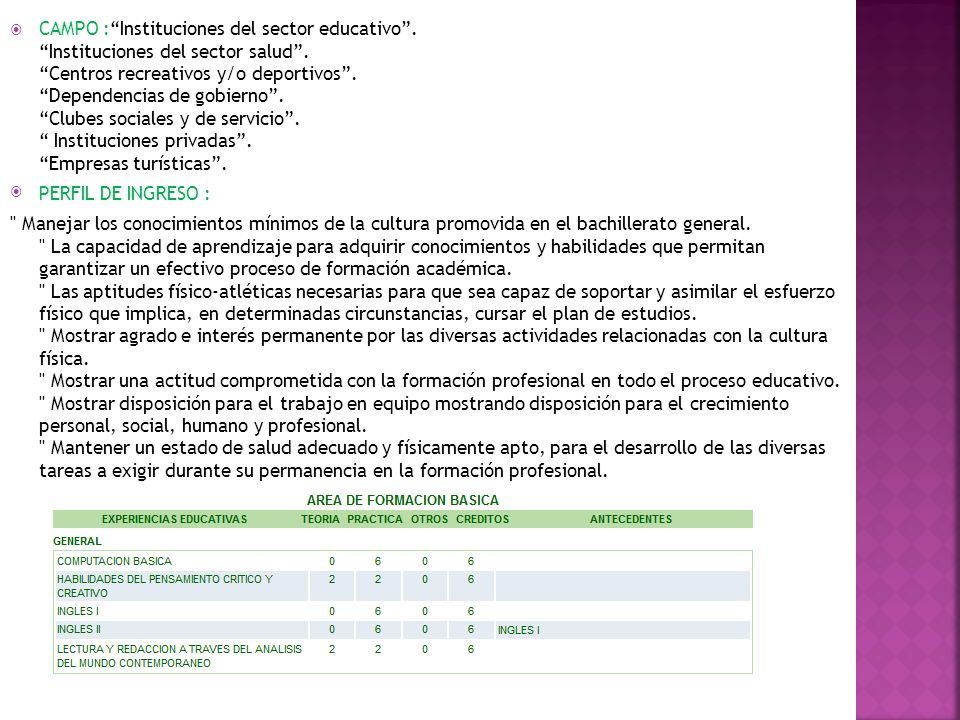 CAMPO : Instituciones del sector educativo