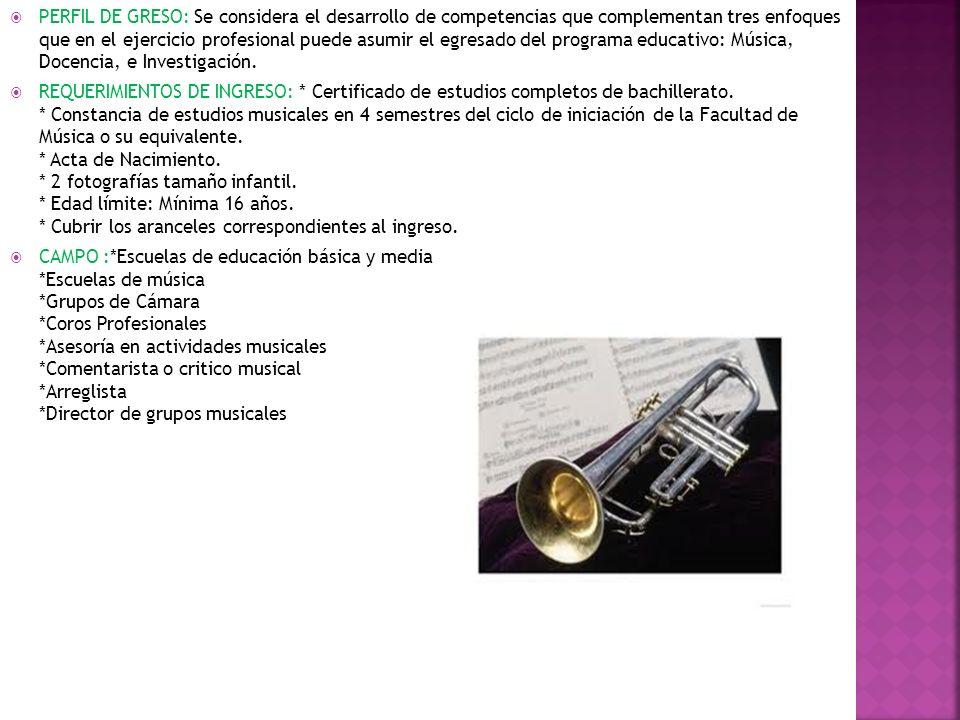 PERFIL DE GRESO: Se considera el desarrollo de competencias que complementan tres enfoques que en el ejercicio profesional puede asumir el egresado del programa educativo: Música, Docencia, e Investigación.