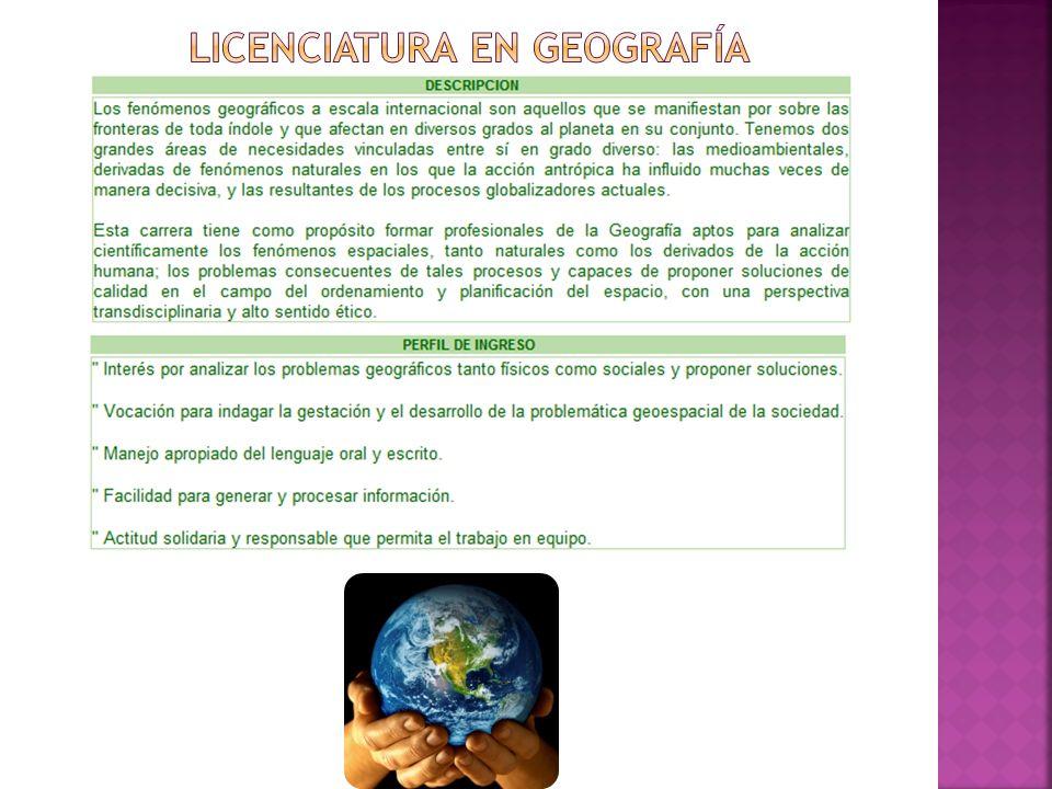 LICENCIATURA EN GEOGRAFÍA