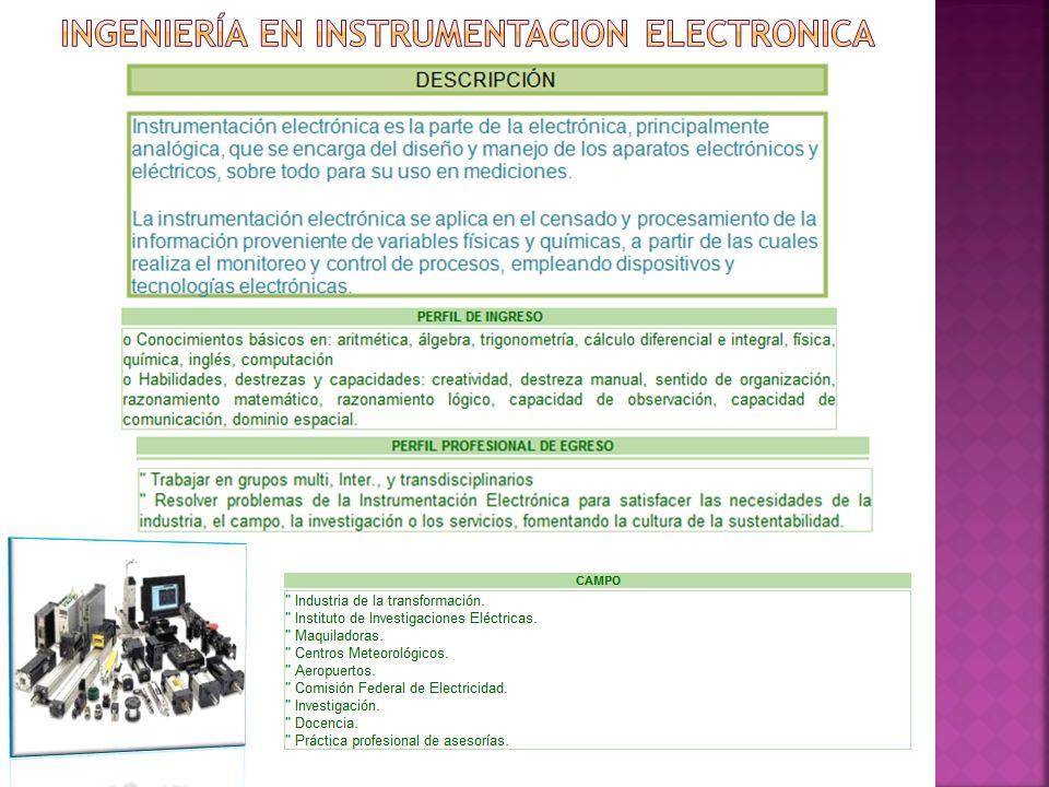 INGENIERÍA EN INSTRUMENTACION ELECTRONICA