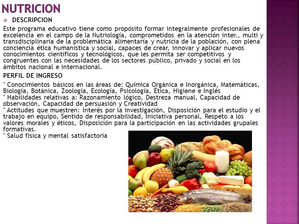 NUTRICION DESCRIPCION