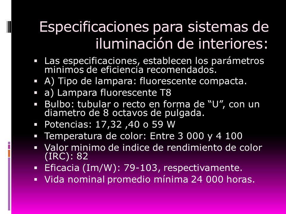 Especificaciones para sistemas de iluminación de interiores: