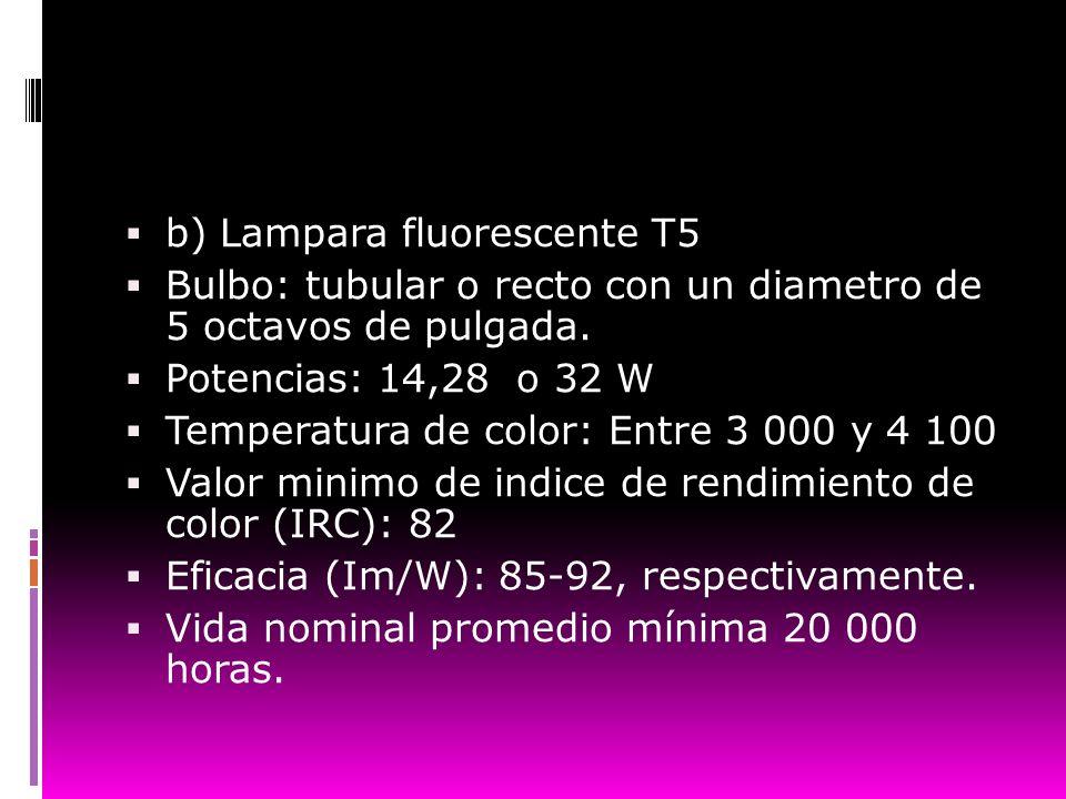 b) Lampara fluorescente T5