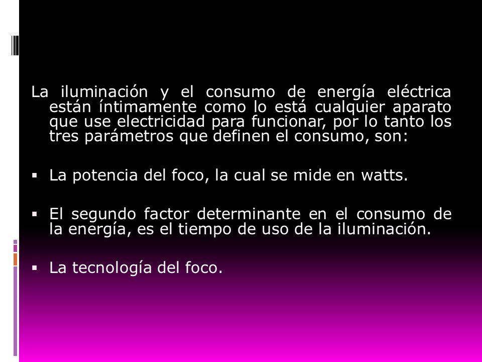 La iluminación y el consumo de energía eléctrica están íntimamente como lo está cualquier aparato que use electricidad para funcionar, por lo tanto los tres parámetros que definen el consumo, son: