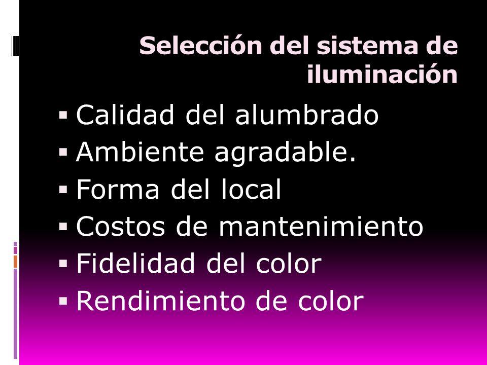 Selección del sistema de iluminación