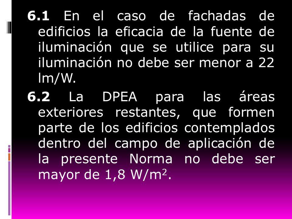 6.1 En el caso de fachadas de edificios la eficacia de la fuente de iluminación que se utilice para su iluminación no debe ser menor a 22 lm/W.