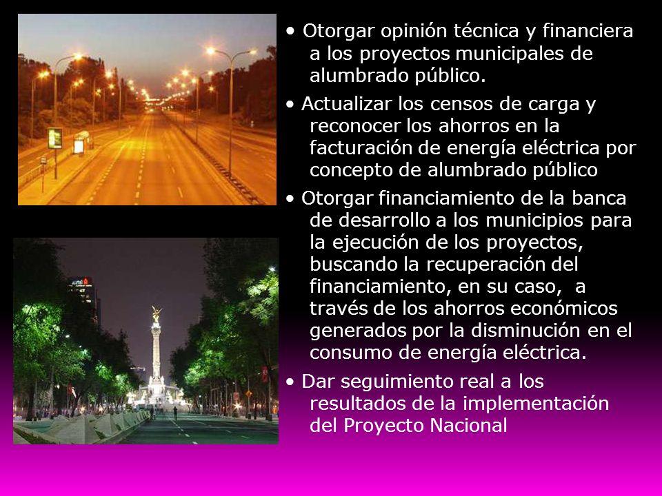 • Otorgar opinión técnica y financiera a los proyectos municipales de alumbrado público.