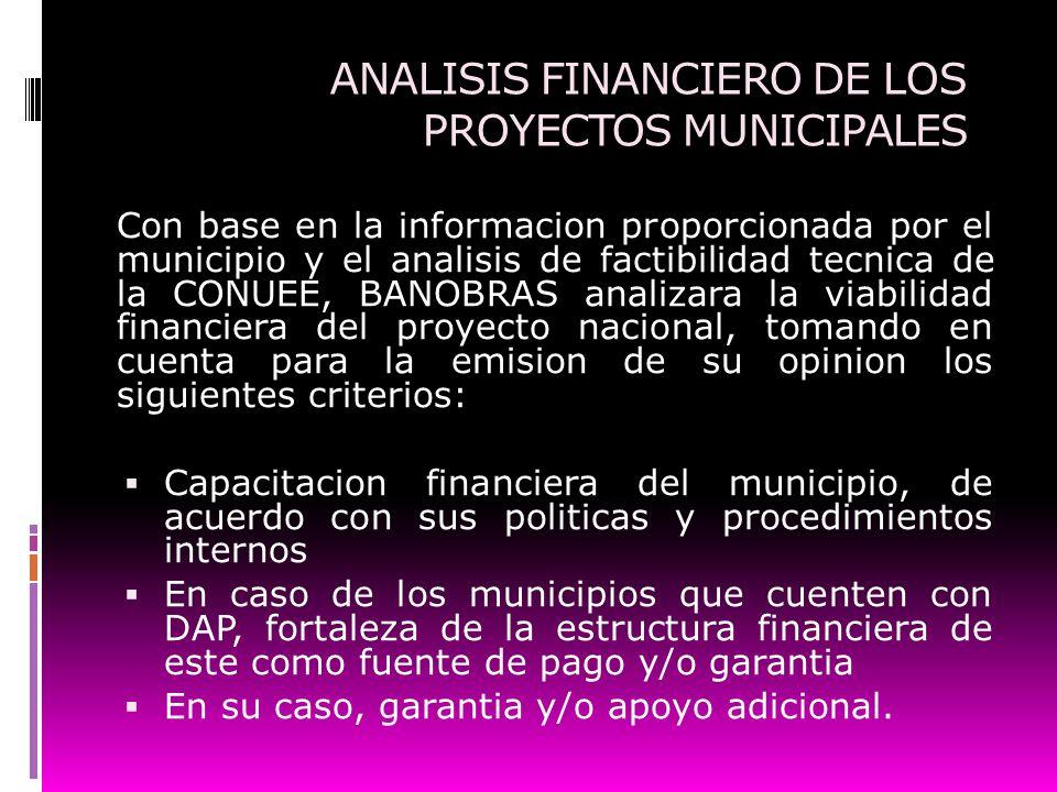 ANALISIS FINANCIERO DE LOS PROYECTOS MUNICIPALES