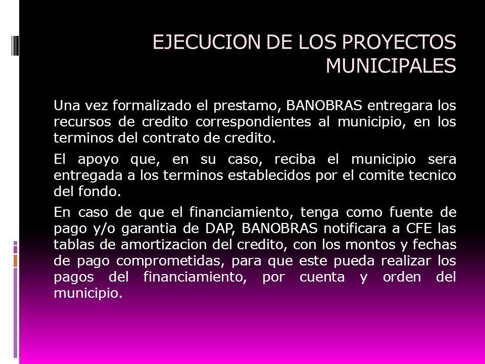 EJECUCION DE LOS PROYECTOS MUNICIPALES