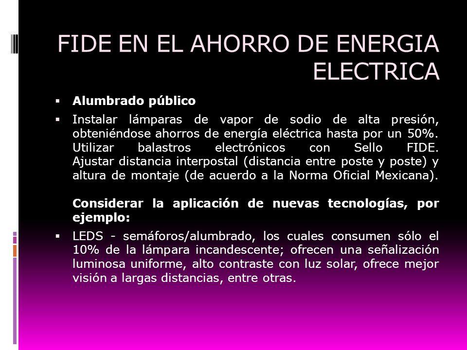 FIDE EN EL AHORRO DE ENERGIA ELECTRICA