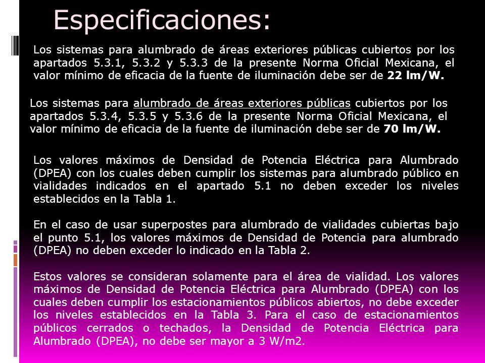 Especificaciones:
