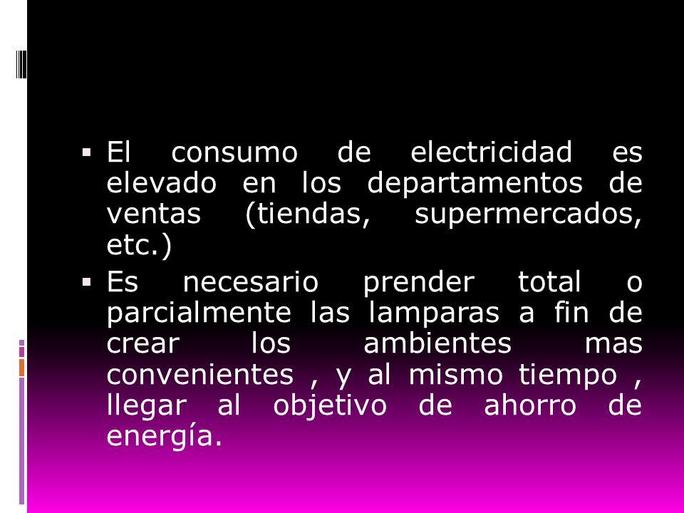 El consumo de electricidad es elevado en los departamentos de ventas (tiendas, supermercados, etc.)