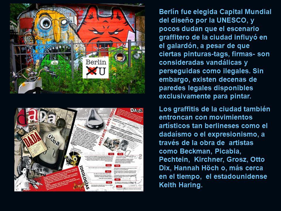Berlín fue elegida Capital Mundial del diseño por la UNESCO, y pocos dudan que el escenario graffitero de la ciudad influyó en el galardón, a pesar de que ciertas pinturas-tags, firmas- son consideradas vandálicas y perseguidas como ilegales. Sin embargo, existen decenas de paredes legales disponibles exclusivamente para pintar.