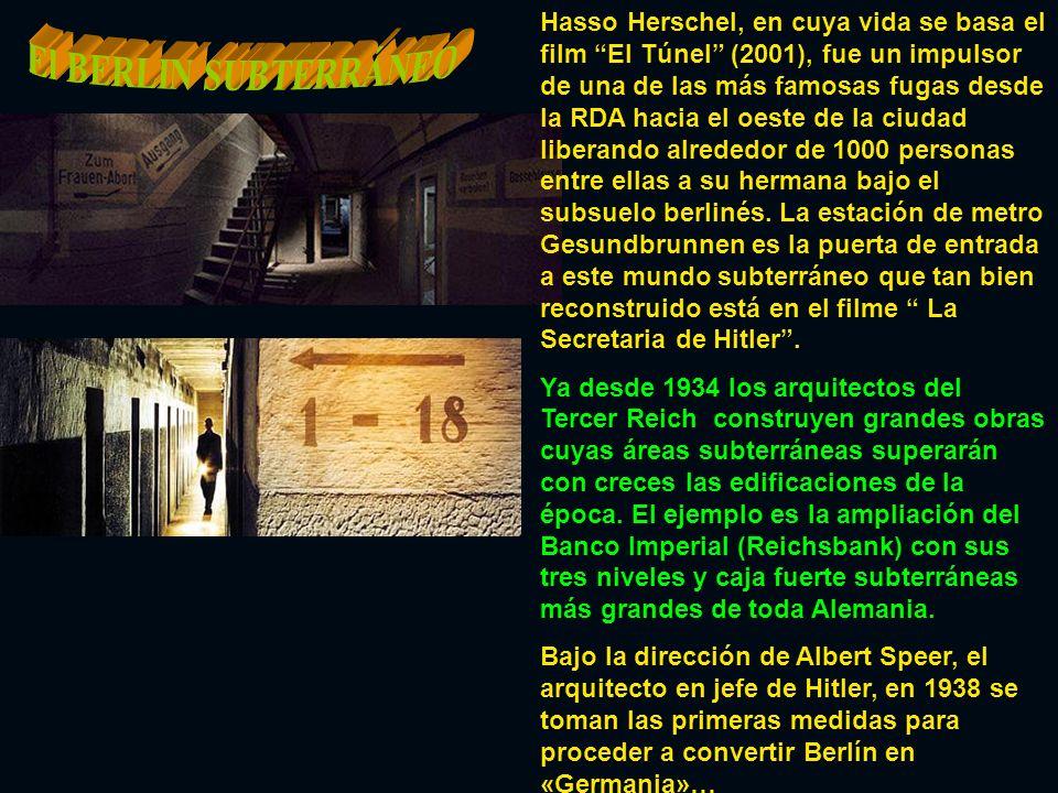 Hasso Herschel, en cuya vida se basa el film El Túnel (2001), fue un impulsor de una de las más famosas fugas desde la RDA hacia el oeste de la ciudad liberando alrededor de 1000 personas entre ellas a su hermana bajo el subsuelo berlinés. La estación de metro Gesundbrunnen es la puerta de entrada a este mundo subterráneo que tan bien reconstruido está en el filme La Secretaria de Hitler .