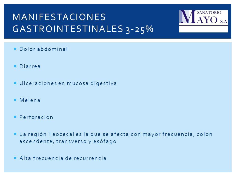 Manifestaciones gastrointestinales 3-25%