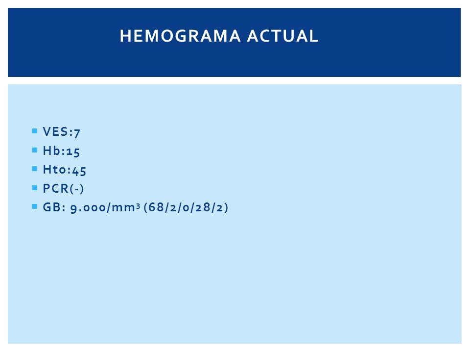 HEMOGRAMA ACTUAL VES:7 Hb:15 Hto:45 PCR(-) GB: 9.000/mm3 (68/2/0/28/2)