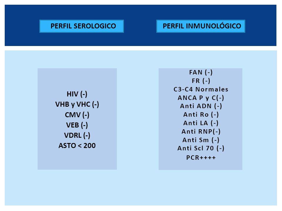 PERFIL SEROLOGICO PERFIL INMUNOLÓGICO HIV (-) VHB y VHC (-) CMV (-)