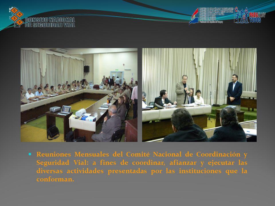 Reuniones Mensuales del Comité Nacional de Coordinación y Seguridad Vial: a fines de coordinar, afianzar y ejecutar las diversas actividades presentadas por las instituciones que la conforman.