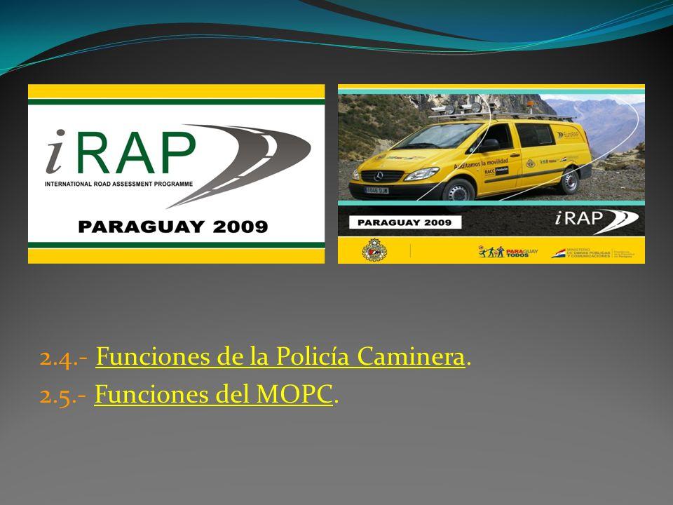 2.4.- Funciones de la Policía Caminera. 2.5.- Funciones del MOPC.