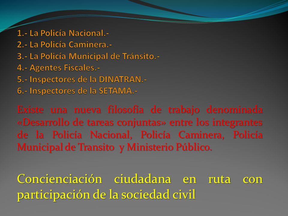 1. - La Policía Nacional. - 2. - La Policía Caminera. - 3