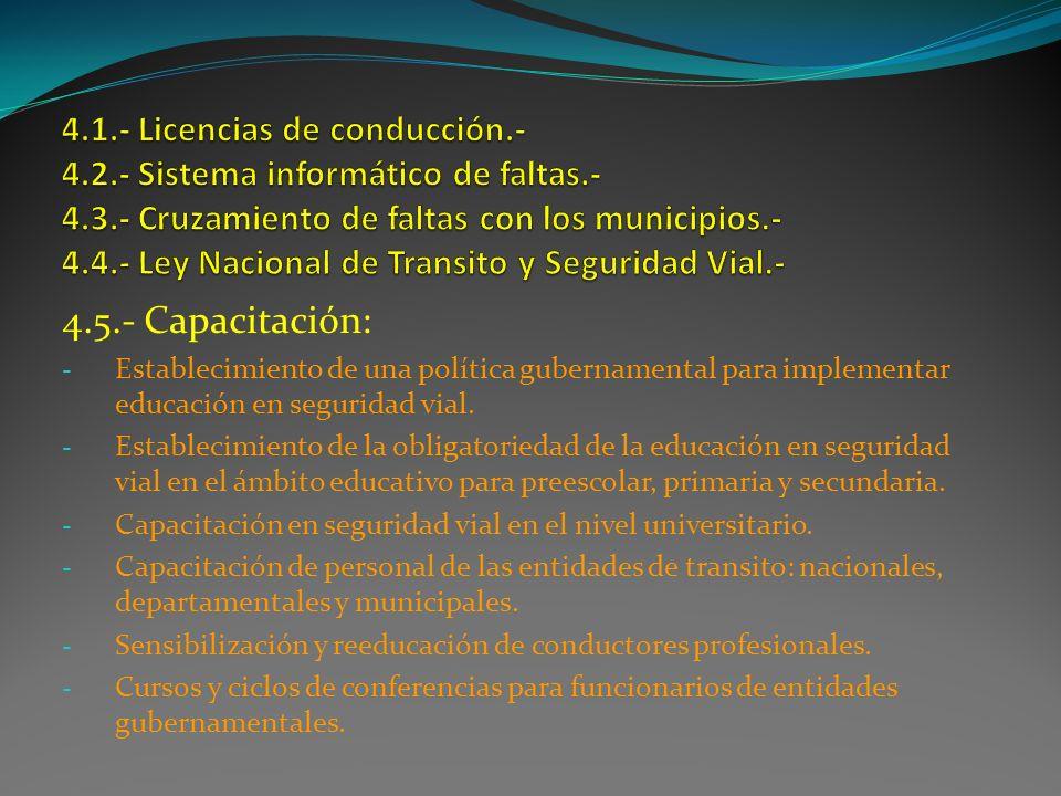 4. 1. - Licencias de conducción. - 4. 2