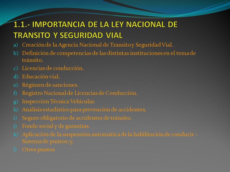 1.1.- IMPORTANCIA DE LA LEY NACIONAL DE TRANSITO Y SEGURIDAD VIAL