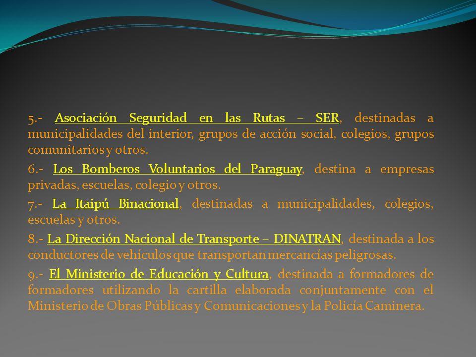 5.- Asociación Seguridad en las Rutas – SER, destinadas a municipalidades del interior, grupos de acción social, colegios, grupos comunitarios y otros.