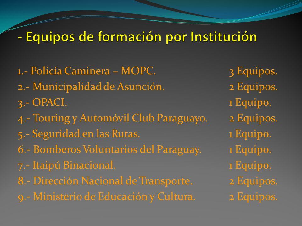 - Equipos de formación por Institución