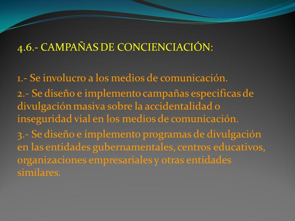 4.6.- CAMPAÑAS DE CONCIENCIACIÓN: