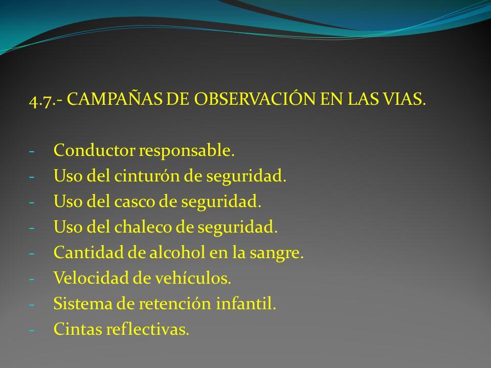 4.7.- CAMPAÑAS DE OBSERVACIÓN EN LAS VIAS.
