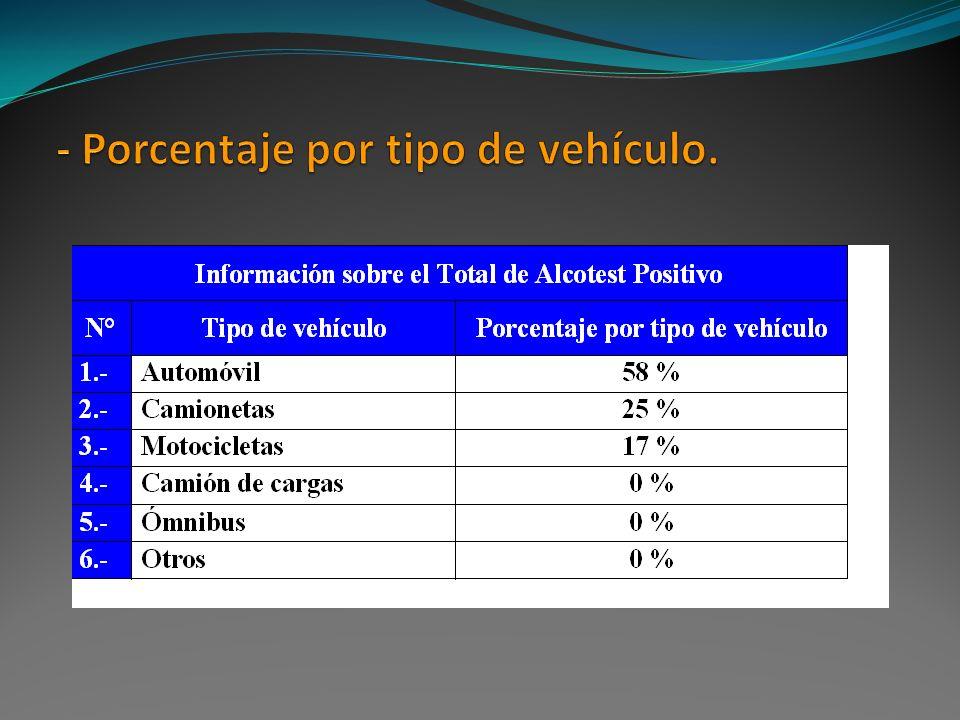 - Porcentaje por tipo de vehículo.