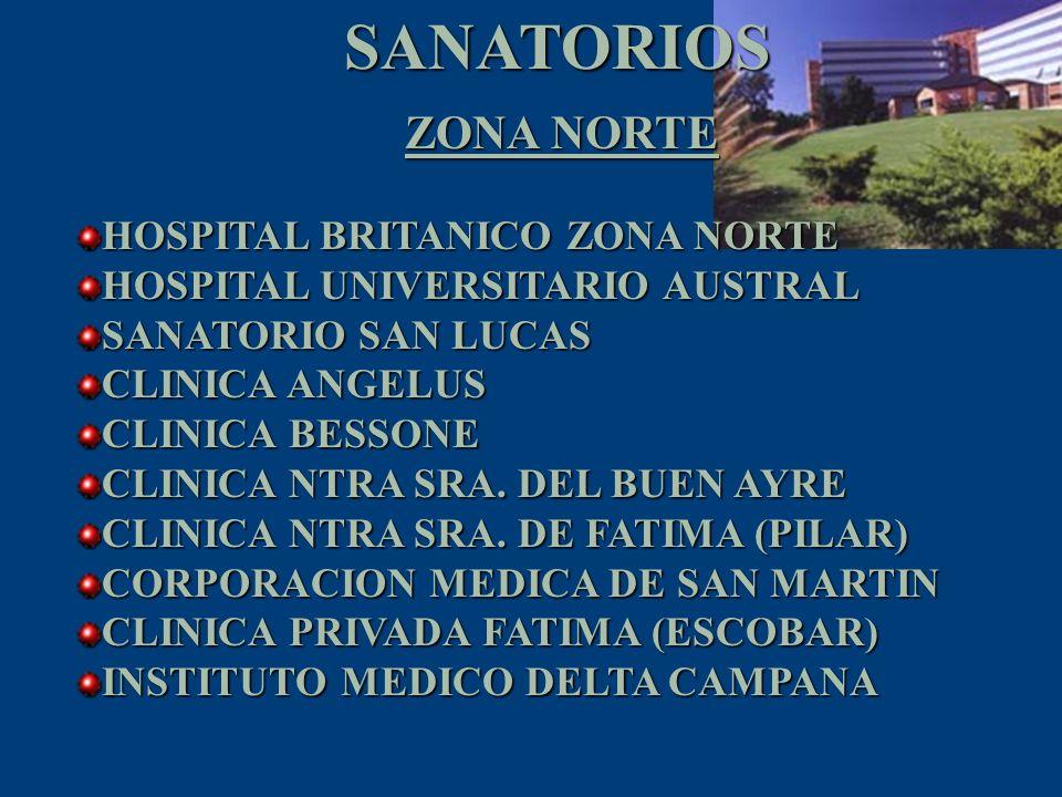 SANATORIOS ZONA NORTE HOSPITAL BRITANICO ZONA NORTE
